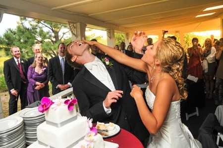 Bride and Groom Feed Cake