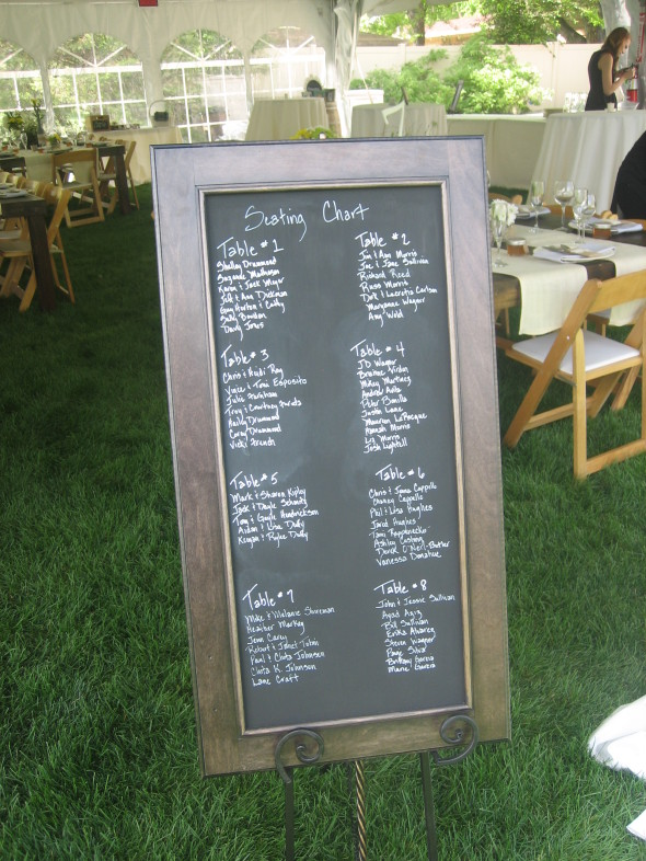 backyard wedding reception, chalkboard seating chart, decorative wedding ideas