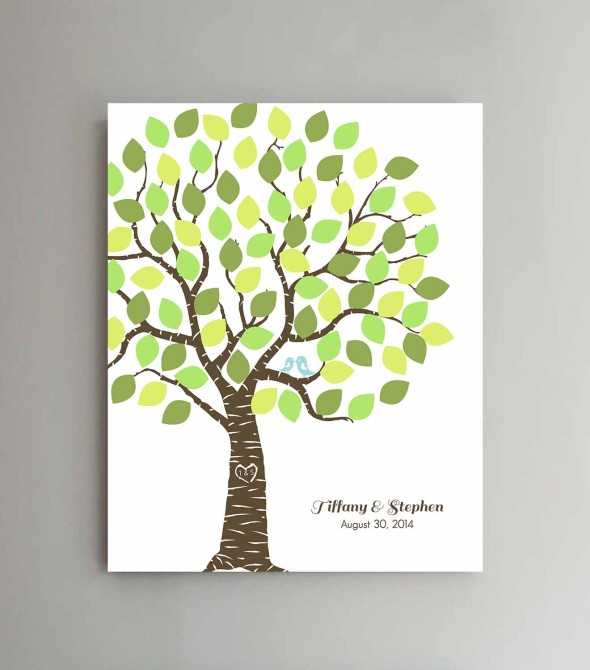 wedding guest book, tree with printed leaves