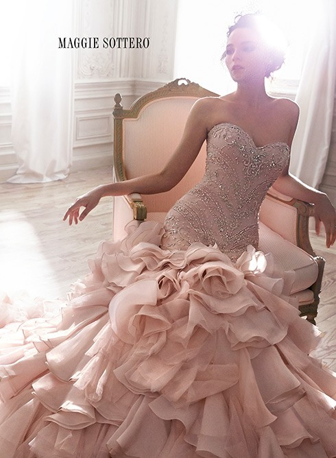 wedding looks for 2015, wedding dress, rose colored